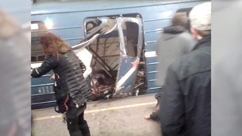 Several people are dead following an explosion on a train in St. Petersburg, Russia, Monday, April 3, 2017.