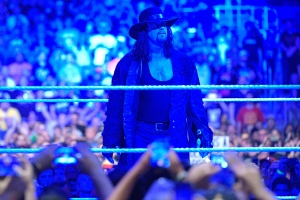 Undertaker gazes at the crowd after what could be his final WrestleMania match on Sunday, April 2, 2017, in Orlando, Fla. (Phelan M. Ebenhack/AP Images for WWE)
