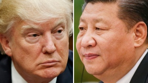 This combination of file photos shows U.S. President Donald Trump on March 28, 2017, in Washington, left, and Chinese President Xi Jinping on Feb. 22, 2017, in Beijing. (AP / Files)