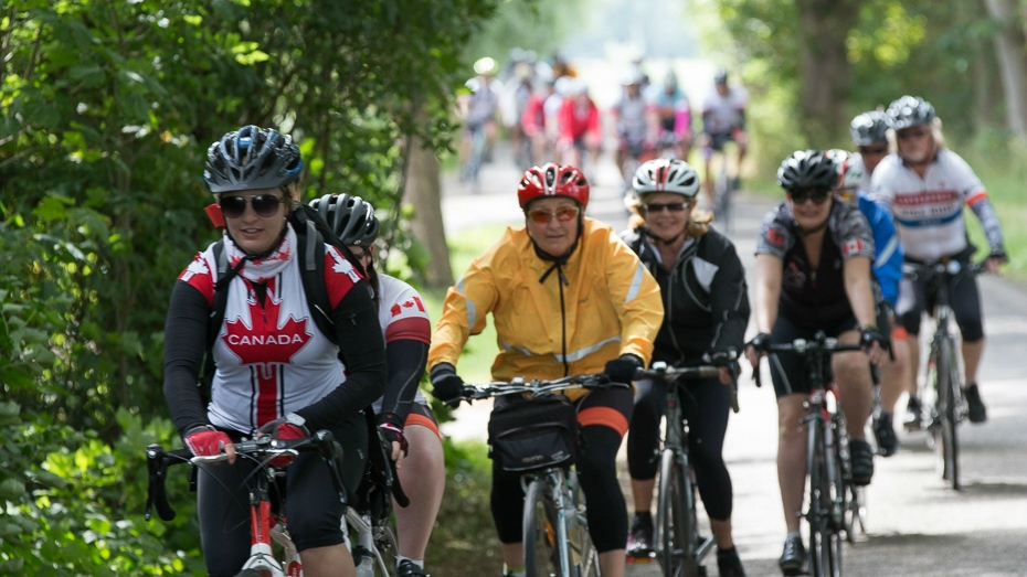 A group of Canadian cyclists are seen participating in the 2016 Battlefield Bike Ride in this provided photo. (Wounded Warriors Canada)