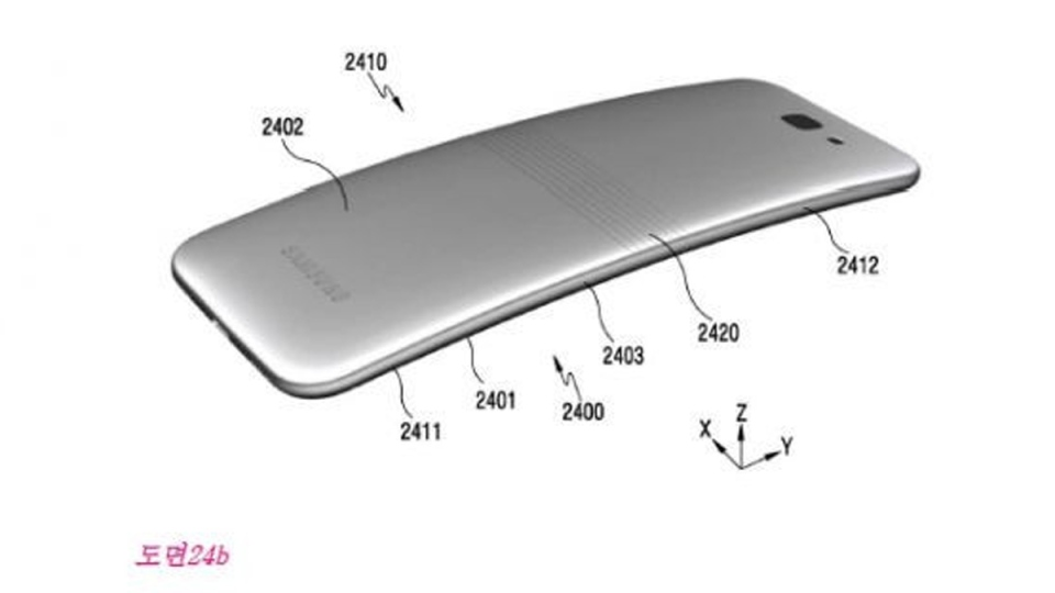 Samsung has reportedly filed a number of patents relating to a folding smartphone. (Korean Intellectual Property Office)