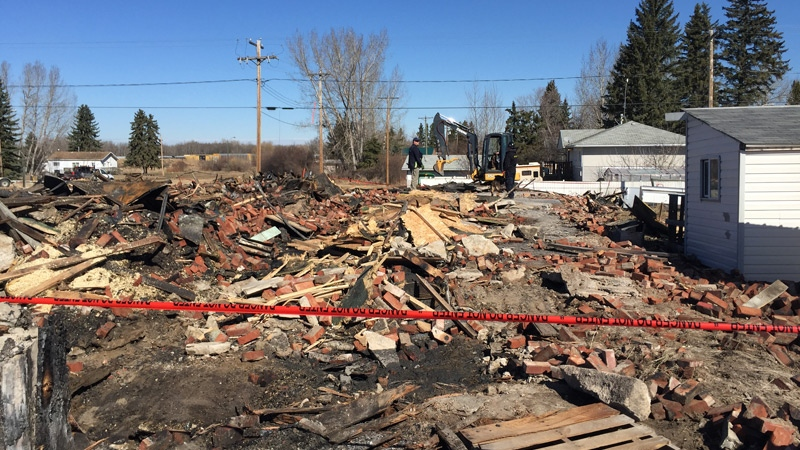 The historic, century-old hardware store in Mirror, Alberta burned down early Monday, April 3, 2017.