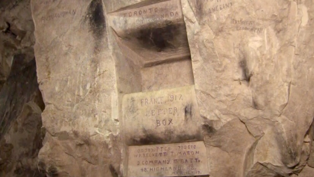 Cave etchings near vimy preserve canadian soldiers