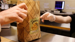 At a Panera Bread store in Brookline, Mass., on March 8, 2010. (Charles Krupa / AP)