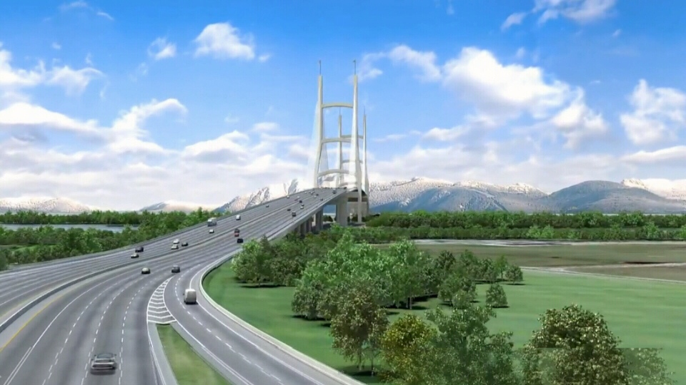 This rendering shows a proposed 10-lane toll bridge intended to replace the aging George Massey Tunnel connecting Richmond and Delta.