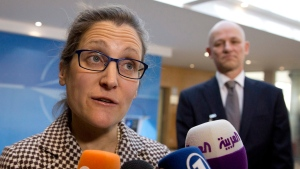 Canadian Foreign Minister Chrystia Freeland speaks with the media as she arrives for a meeting of NATO foreign ministers at NATO headquarters in Brussels on Friday, March 31, 2017. (AP Photo/Virginia Mayo, Pool)