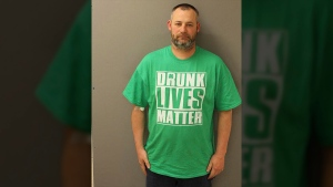 In this March 2017 photo provided by the Newville Police Department, Elwood Gutshall III is shown. Police in Pennsylvania say they arrested Gutshall III wearing a Drunk Lives Matter shirt for alleged drunken driving. (Newville Police Department via AP)