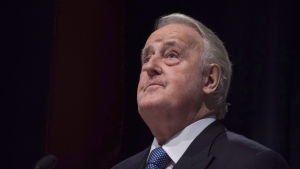 In this Oct. 26, 2016 file photo, former prime minister Brian Mulroney pauses while speaking following the announcement of the $60 million Brian Mulroney Institute of Government and Mulroney Hall at St. Francis Xavier University in Antigonish, N.S. (Darren Calabrese / THE CANADIAN PRESS)