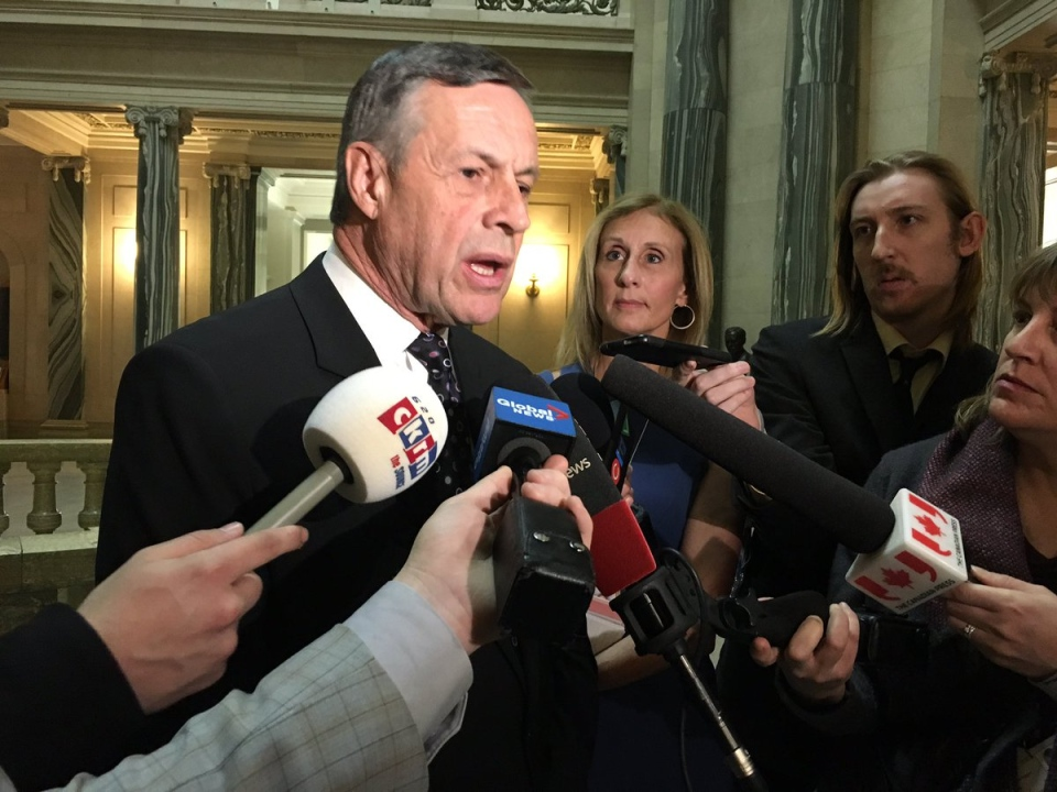 Saskatchewan Education Minister Don Morgan speaks to media at the Saskatchewan Legislative Building in Regina on Thursday, April 6, 2017. (WAYNE MANTYKA/CTV REGINA)