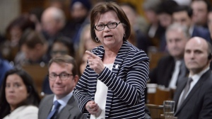 Public Services and Procurement Minister Judy Foote responds during Question Period in the House of Commons, in Ottawa. (Adrian Wyld/The Canadian Press)