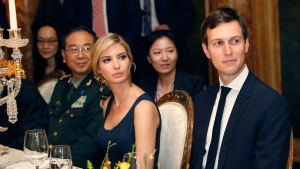 Ivanka Trump, second from right, the daughter and assistant to President Donald Trump, is seated with her husband White House senior adviser Jared Kushner, right, during a dinner with President Donald Trump and Chinese President Xi Jinping, at Mar-a-Lago, in Palm Beach, Fla., on Thursday, April 6, 2017. (AP Photo/Alex Brandon)
