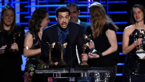 "Ezra Edelman accepts the award for best documentary for ""O.J.: Made in America"" at the Film Independent Spirit Awards on Saturday, Feb. 25, 2017, in Santa Monica, Calif. (Photo by Chris Pizzello/Invision/AP)"