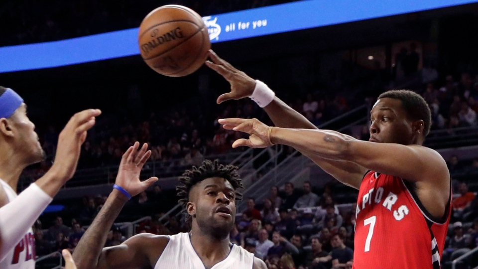 5a64cd9445d Toronto Raptors guard Kyle Lowry (7) passes the ball as Detroit Pistons  forwards Tobias Harris, left, and Reggie Bullock close in during the second  half of ...