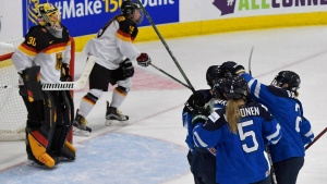 Finland players celebrate a first period goal by Venla Hovi (9) during the IIHF Ice Hockey Women's World Championship bronze medal game against Germany in Plymouth, Mich., on Friday, April 7, 2017. (THE CANADIAN PRESS / Jason Kryk)