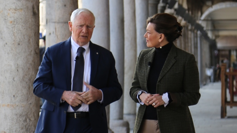 Governor General David Johnston talks to CTV's Chief Anchor and Senior Editor Lisa LaFlamme in Arras, France, on Friday, April 7, 2016. (CTV News / Rosa Hwang)