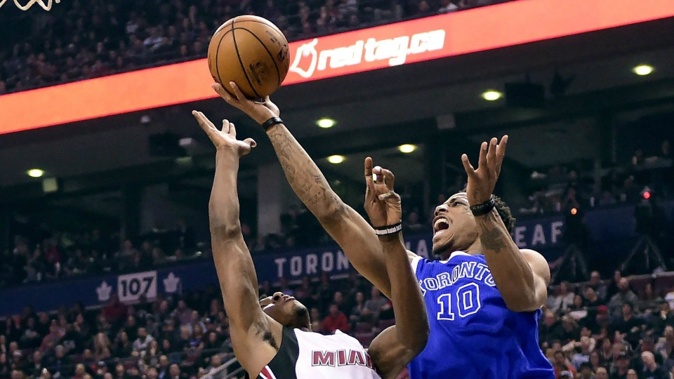 328c7fad606 DeRozan's 38 points leads Raptors past Heat 96-94 | CTV News