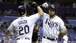 Tampa Bay Rays' Evan Longoria, right, celebrates with Steven Souza Jr. after Longoria hit a two-run home run off Toronto Blue Jays starting pitcher Francisco Liriano during the first inning of a baseball game Friday, April 7, 2017, in St. Petersburg, Fla. (AP / Chris O'Meara)