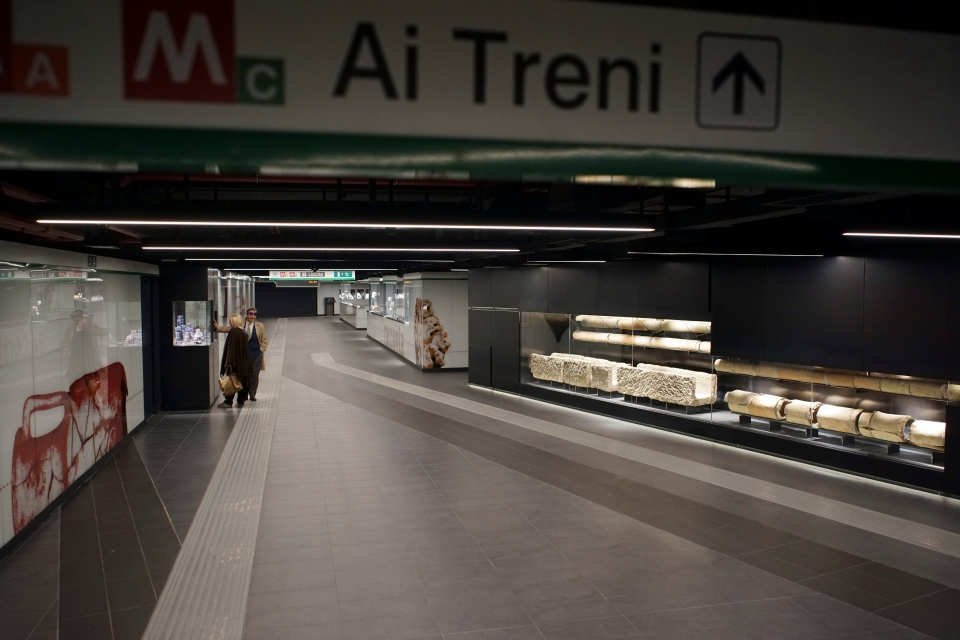 Ancient Roman artifacts are on display in the San Giovanni underground station of Rome's brand new third metro line, Thursday, April 6, 2017. (Andrew Medichini/AP Photo)