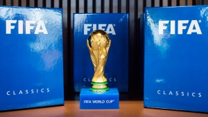 A World Cup soccer trophy is on display during the exclusive preview of the FIFA World Football Museum in Zurich, Switzerland on Wednesday, Feb. 24, 2016. (Ennio Leanza / Keystone)
