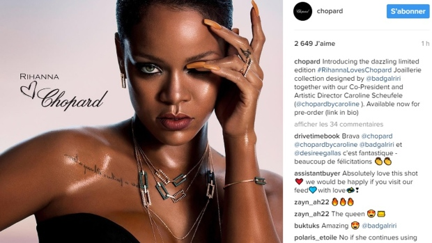 """Rihanna has joined forces with Chopard for a collaborative, high-end jewelry collection """"Rihanna Loves Chopard"""". ©Instagram / Chopard"""