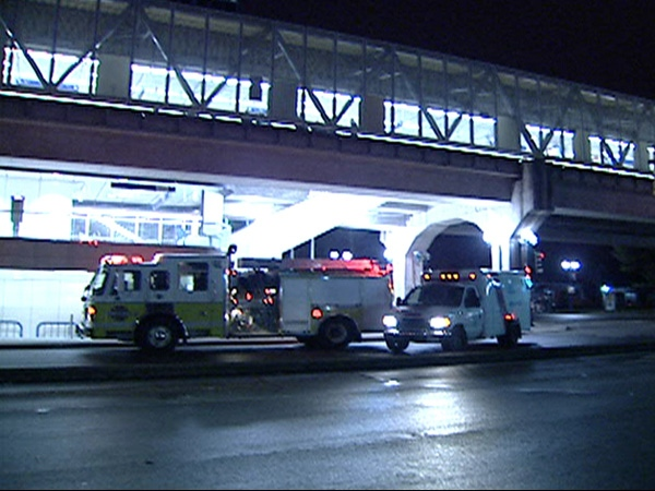 A man is in critical condition in Royal Columbian Hospital after being hit in the head by a passing out-of-service SkyTrain on Tuesday night. March 18, 2009 (CTV)