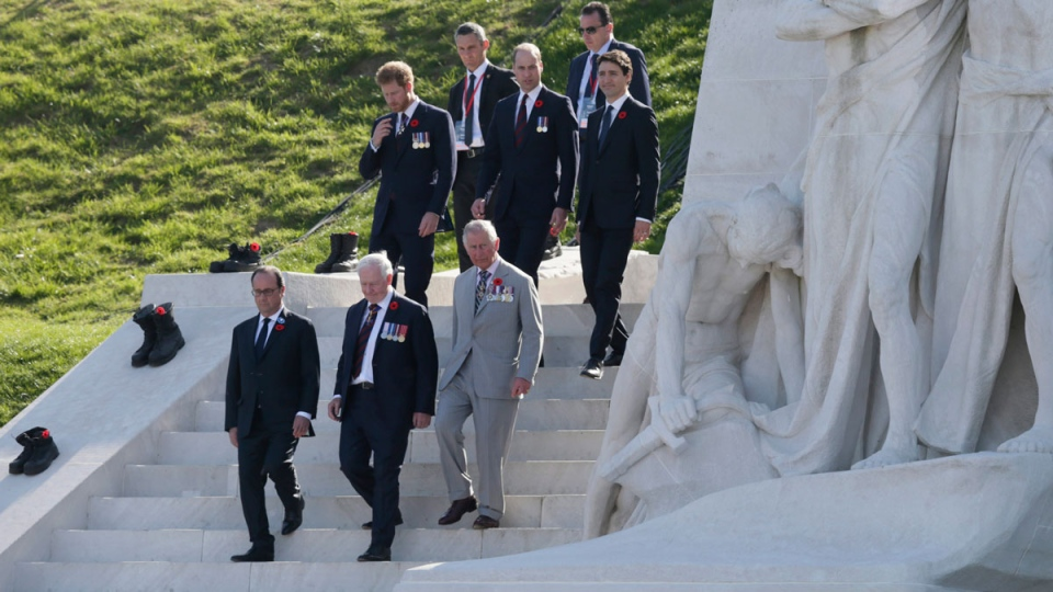 From left, French President Francois Hollande, Governor General of Canada David Johnstone, the Prince of Wales , Prince Harry, the Duke of Cambridge and Prime Minister Justin Trudeau arrive for a ceremony marking the 100th anniversary of the Battle of Vimy Ridge at the WWI Canadian National Vimy Memorial in Givenchy-en-Gohelle, France on Sunday, April 9, 2017. The commemorative ceremony at the memorial honors Canadian soldiers who were killed or wounded during the Battle of Vimy Ridge in April 1917. (AP Photo/Virginia Mayo)