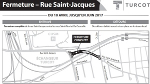 St-Jacques will be closed between St-Remi and De Courcelle until June as part of ongoing work on the Turcot Interchange. (Photo via Transport Quebec)