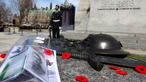 A Canadian Armed Forces sentry stands guard after poppies and photographs were placed on the Tomb of the Unknown Soldier at the National War Memorial in Ottawa, Sunday, April 9, 2017. (THE CANADIAN PRESS/Fred Chartrand)