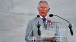 Prince Charles, Prince of Wales, addresses the audience during a ceremony marking the 100th anniversary of the Battle of Vimy Ridge at the WWI Canadian National Vimy Memorial in Vimy, France, Sunday, April 9, 2017. The commemorative ceremony at the memorial honors Canadian soldiers who were killed or wounded during the Battle of Vimy Ridge in April 1917. (Philippe Huguen/Pool Photo via AP)