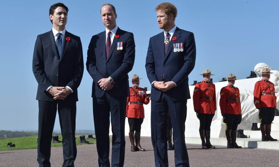 Prime Minister Justin Trudeau, left, Prince William, Duke of Cambridge and Prince Harry, right, stand during commemorations of the 100th anniversary of the Battle of Vimy Ridge at the WWI Canadian National Vimy Memorial in Vimy, France, Sunday, April 9, 2017. The commemorative ceremony at the memorial honors Canadian soldiers who were killed or wounded during the Battle of Vimy Ridge in April 1917. (Philippe Huguen/Pool Photo via AP)