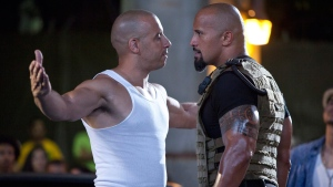 Vin Diesel, left, and Dwayne Johnson in a scene from 'Fast Five.' (AP / Universal Pictures)