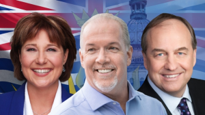 BC Liberals Leader Christy Clark, BC NDP Leader John Horgan and Andrew Weaver of the BC Green Party.