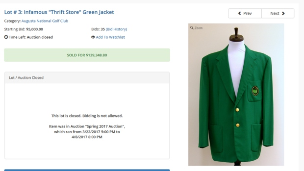 Green jacket at the masters golf tournament
