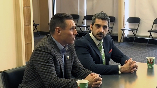 Ontario PC leader Patrick Brown campaigned with local candidate Ross Romano in March.