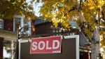 A real estate sold sign hangs in front of a west-end Toronto property, Friday, Nov. 4, 2016. (Graeme Roy/The Canadian Press)