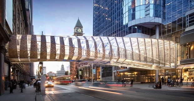 The bridge over Queen Street that connects CF Toronto Eaton Centre with Hudson's Bay and Saks Fifth Avenue is being rebuilt. (Cadillac Fairview)