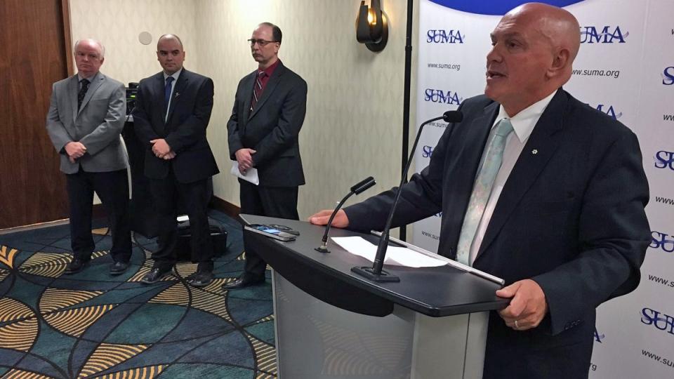 SUMA president Gordon Barnhart addresses media in Regina on Monday, April 10, 2017. (Wayne Mantyka/CTV Regina)