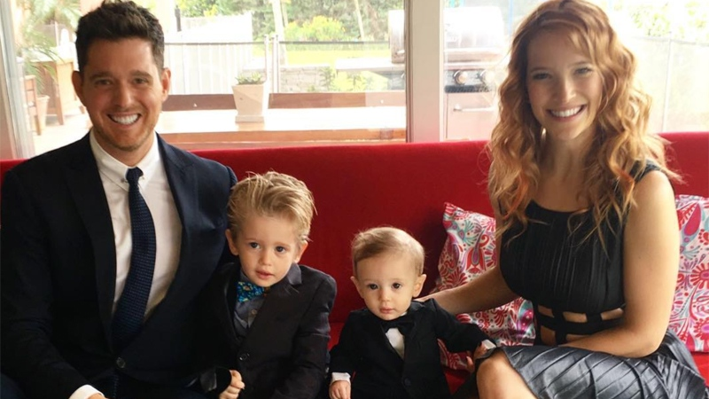 Michael Buble poses with his family in this photo posted to Instagram in October 2016.