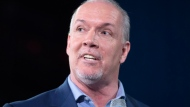 NDP leader John Horgan addresses a campaign gathering in Vancouver, Tuesday, April, 11, 2017. THE CANADIAN PRESS/Jonathan Hayward