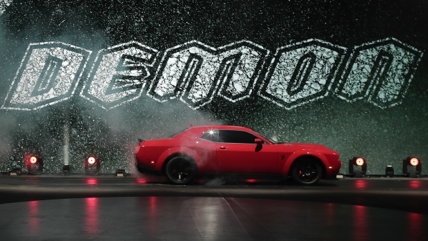 The 2018 Dodge Challenger SRT Demon is unveiled during a media preview for the New York International Auto Show in New York on Tuesday, April 11, 2017. (AP / Julie Jacobson)