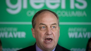 British Columbia Green Party Leader Andrew Weaver speaks about the party's affordable housing strategy during a campaign stop in Vancouver, B.C., on Tuesday April 11, 2017. A provincial election will be held on May 9. THE CANADIAN PRESS/Darryl Dyck