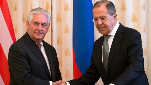S Secretary of State Rex Tillerson, left, and Russian Foreign Minister Sergey Lavrov shake hands prior to their talks in Moscow, Russia, Wednesday, April 12, 2017. (AP Photo/Alexander Zemlianichenko)