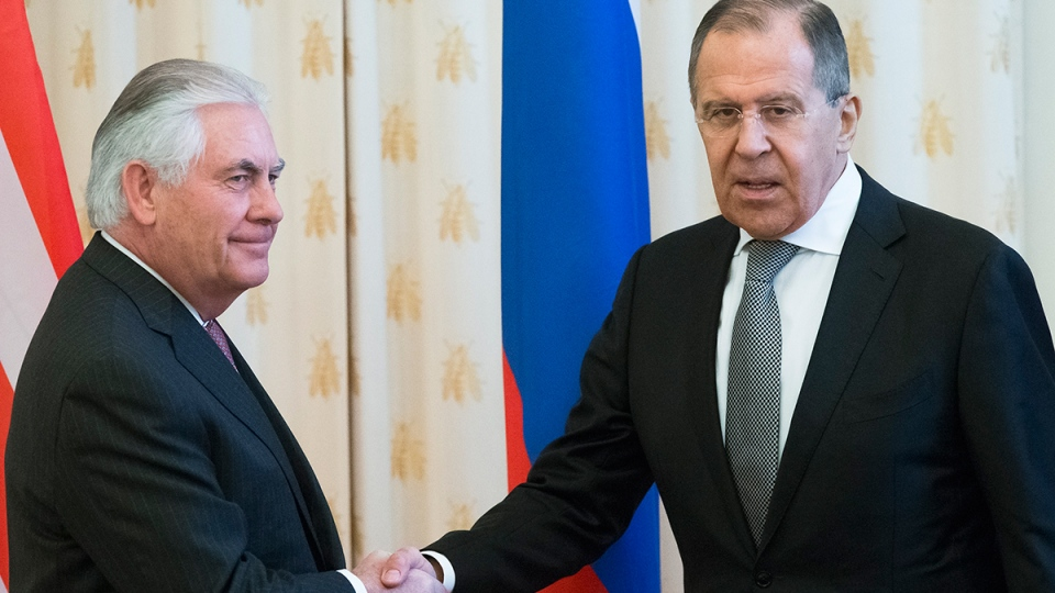 U.S. Secretary of State Rex Tillerson, left, and Russian Foreign Minister Sergey Lavrov shake hands prior to their talks in Moscow, Russia, Wednesday, April 12, 2017. (AP / Alexander Zemlianichenko)