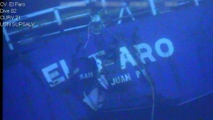 This undated image made from a video released April 26, 2016, by the National Transportation Safety Board shows the stern of the sunken ship El Faro. (National Transportation Safety Board via AP, File)
