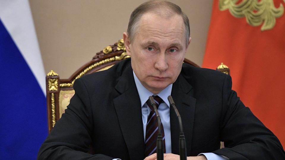 Russian President Vladimir Putin heads the Cabinet meeting in Moscow, Russia, Wednesday, April 12, 2017. (Alexei Nikolsky / Sputnik, Kremlin Pool Photo via AP)