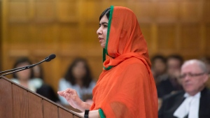Malala Yousafzai addresses the House of Commons on Parliament Hill, after receiving the Honorary Canadian Citizenship, in Ottawa on Wednesday, April 12, 2017. THE CANADIAN PRESS/Justin Tang