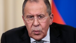 Russian Foreign Minister Sergey Lavrov speaks to the media during a shared news conference with US Secretary of State Rex Tillerson following their talks in Moscow, Russia, Wednesday, April 12, 2017. (AP Photo/Ivan Sekretarev)