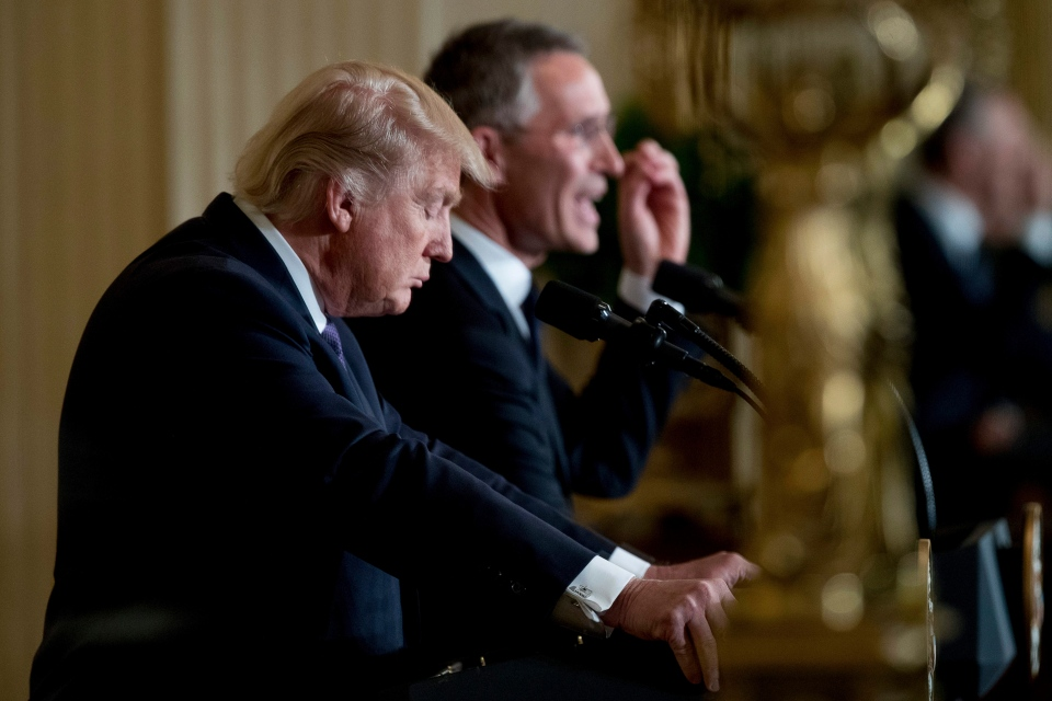 U.S. President Donald Trump listens as NATO Secretary General Jens Stoltenberg speaks at a news conference in the East Room at the White House in Washington, Wednesday, April 12, 2017, in Washington. (AP / Andrew Harnik)