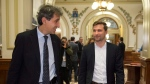 Quebec Solidaire MNA Amir Khadir and candidate Gabriel Nadeau-Dubois called for an end to private school subsidies. (THE CANADIAN PRESS/Jacques Boissinot)