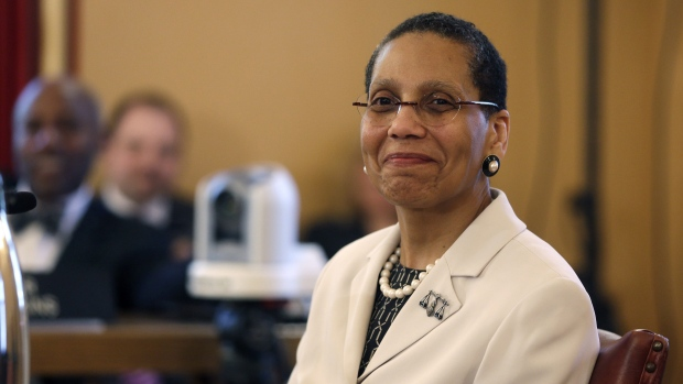 In this April 30, 2013 file photo, Justice Sheila Abdus-Salaam looks on as members of the state Senate Judiciary Committee vote unanimously to advance her nomination to fill a vacancy on the Court of Appeals at the Capitol in Albany, N.Y. (AP Photo / Mike Groll, File)